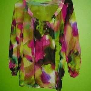 ANNE KLEIN Floral Crinkle Blouse 100%Silk Size M